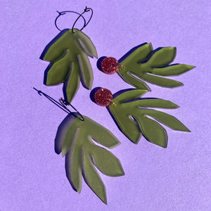 APPLE GREEN SEAWEED EARRINGS - CHOOSE STYLE