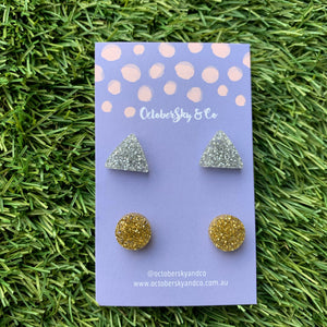 GLITTERATTI STUD PACKS 15mm + 12mm - CHOOSE DESIGN & COLOUR