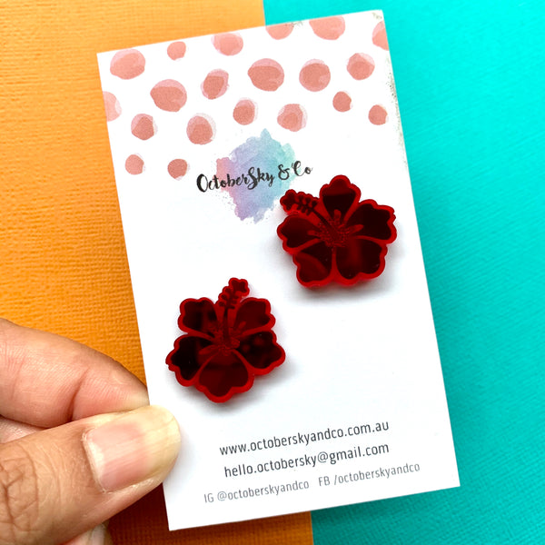 HIBISCUS LUXE STUDS - CHOOSE COLOUR