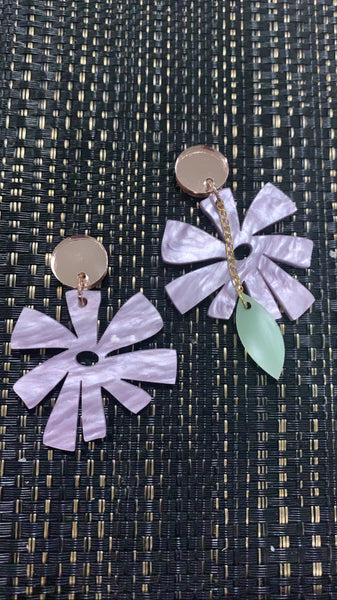 Pinwheel Flower Dangles with Stud Top - CHOOSE COLOUR