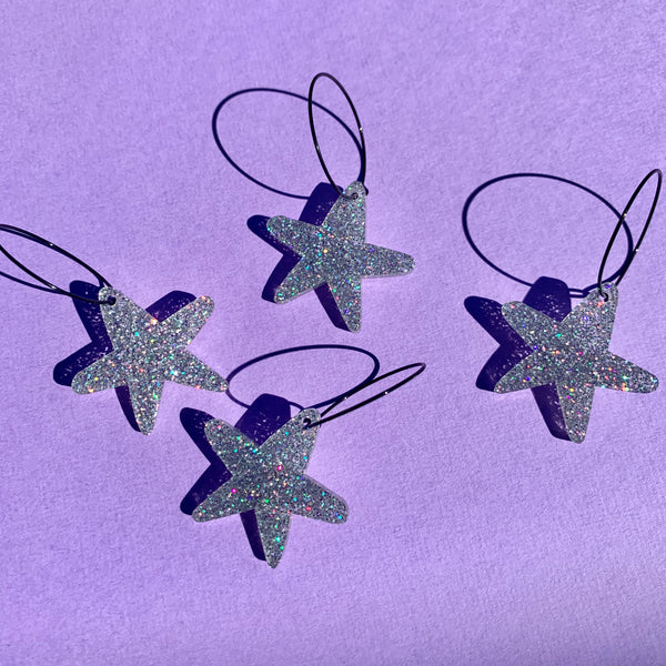 STARFISH HOOPS - HOLOGRAPHIC SILVER