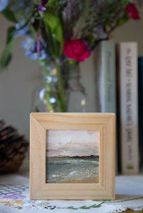 """Along the Coast"" Mini 3x3 inch Framed Oil on Canvas"