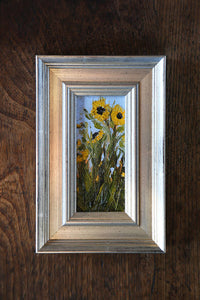"""Sunflowers 1"" Original Framed 2x4 inch Oil Painting"