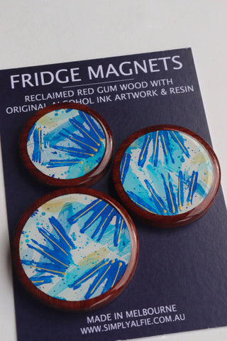 Reclaimed Red Gum Wood  and Resin Magnets - Pack 3 Blue Spark