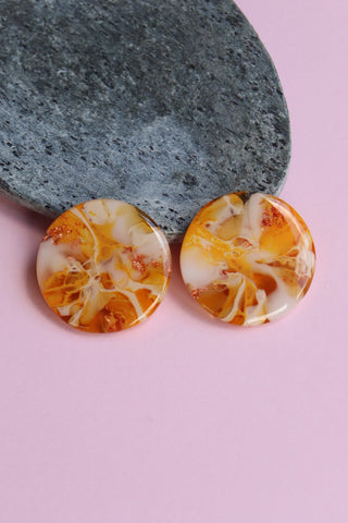 Handcrafted Resin Earrings - 'Citrus Caramel 3'