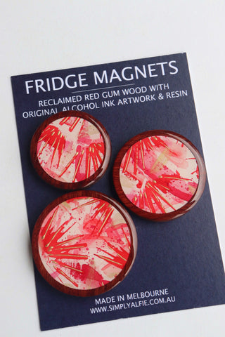 Reclaimed Red Gum Wood  and Resin Magnets - Pack 4 Red Spark