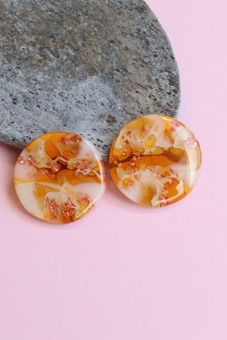 Handcrafted Resin Earrings - 'Citrus Caramel 1'
