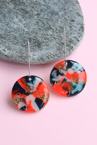 Handcrafted Resin Earrings - 'Neon Carnival 2'