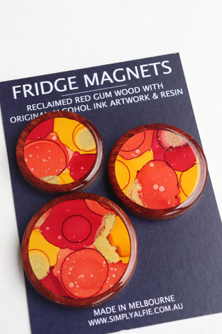 Reclaimed Red Gum Wood  and Resin Magnets - Pack 2 Autumn Leaves
