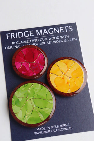 Reclaimed Red Gum Wood  and Resin Magnets - Pack 11 Mixed Print