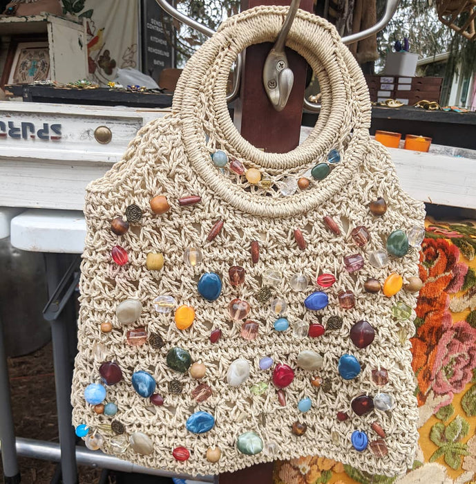 Woven Beaded 1970s Tote