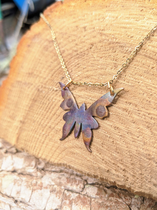 Dark irridescence butterfly necklace