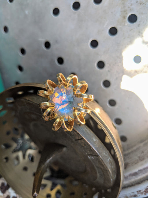 Opal crystal vintage flower ring