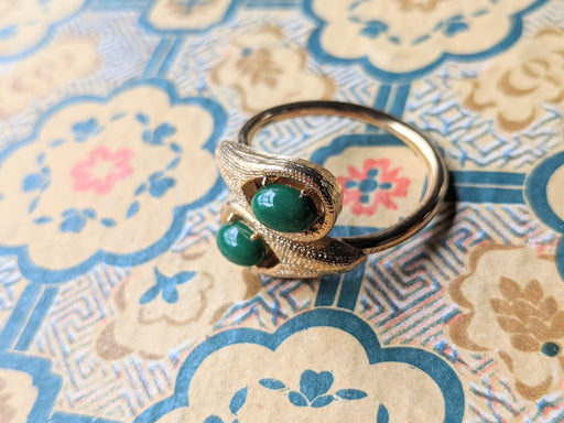 Vintage gold and green ring, adjustable