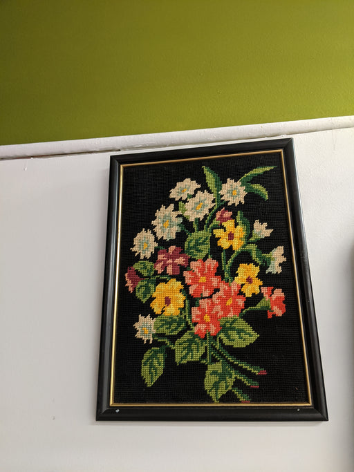 Flowers on black needlepoint