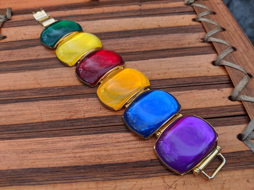Rainbow statement bracelet