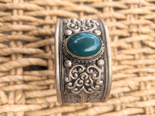 Vintage deep sea green stone cuff