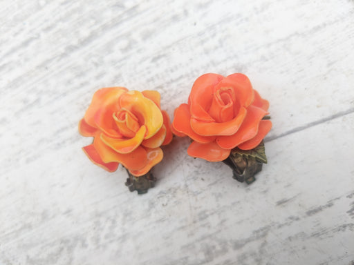 Orange rose clip ons