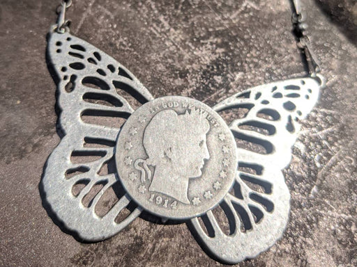 Sterling coin steampunk necklace