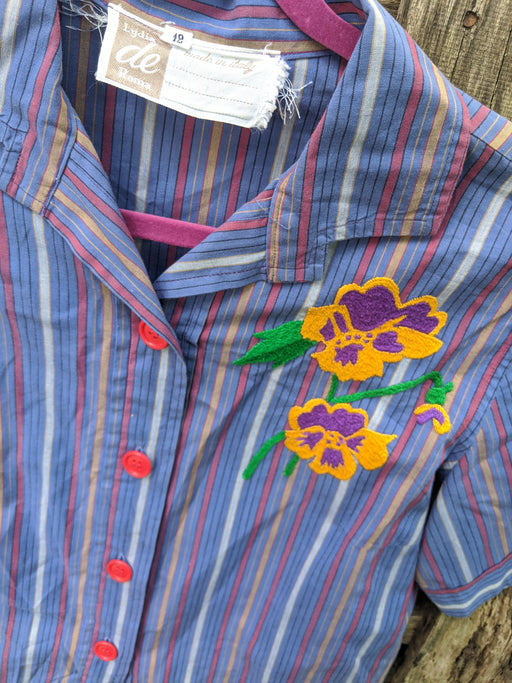 Vintage Italian flower patch top