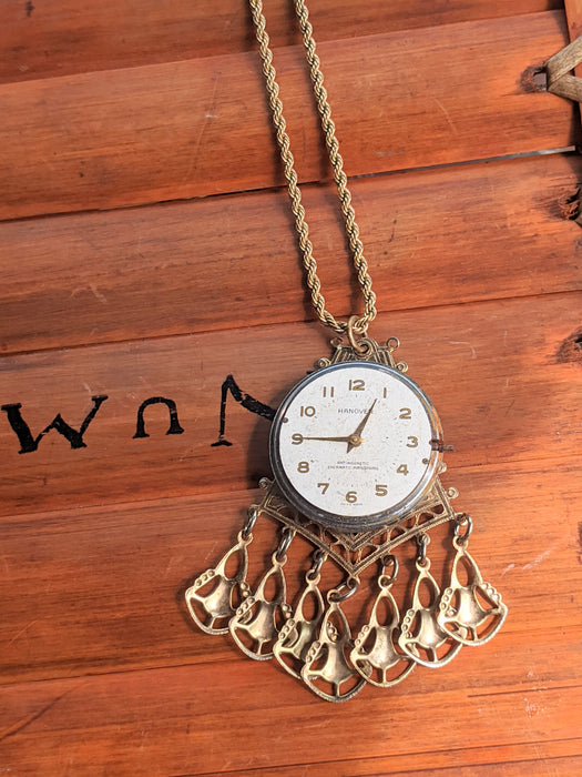 Steampunk clock face tassel necklace