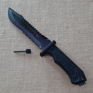 Knife - black with fire starter and sheath
