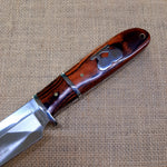 Columbia knife and sheath - Silver and wood