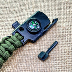 Paracord bracelet with knife and fire starter