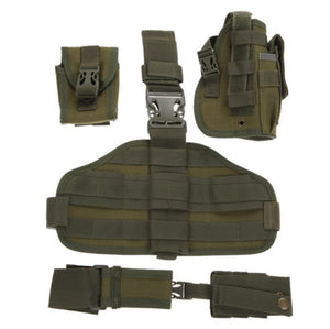 Drop leg holster with molle system + magazine and radio pouches