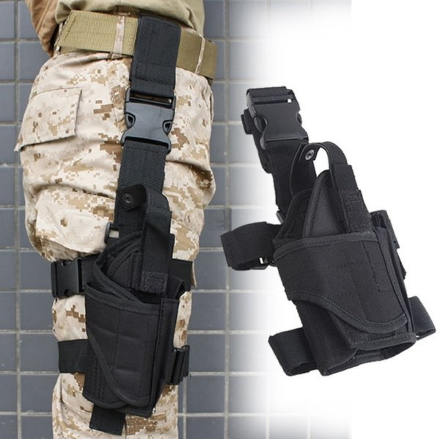 Leg thigh holster - adjustable