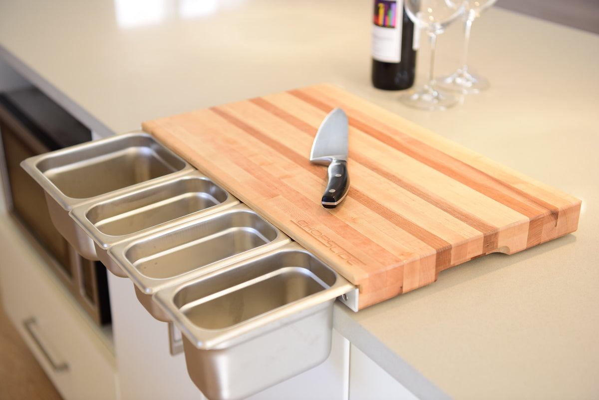 Cutting Board With Containers Chopslide Kitchen Board