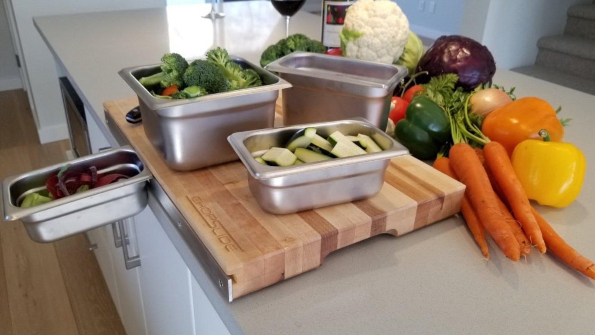 ... ChopSlide Cutting Board With Stainless Steel Containers ...