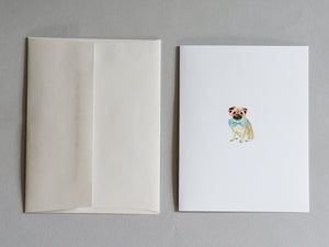 """Pug"" dog with bow tie and glasses - Blank Greeting Card"