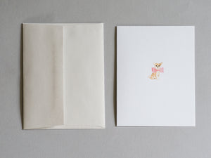 """Chihuahua"" Tan with pink bow tie - Blank Greeting Card"