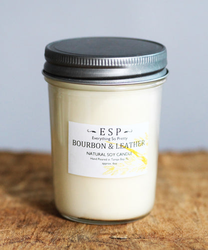 Bourbon & Leather Natural Soy Candle