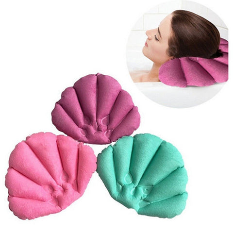 Shell Shape Terrycloth Bath Pillow Vinyl Covering Inflatable Neck Cushion Spa - UrBasicneeds