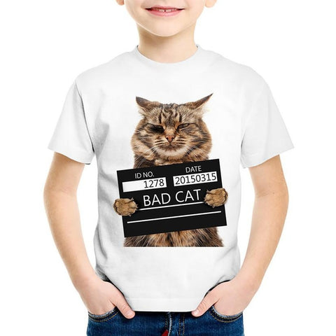 Bad Cat Prison Police Station Printed Summer Tee - UrBasicneeds