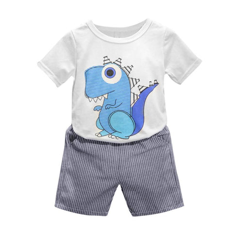 Cartoon dinosaur Printed T-shirt + Striped Trousers - UrBasicneeds