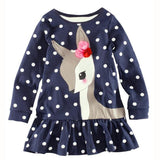 Girls Long Sleeve Deer Tops T-Shirt Dress - UrBasicneeds