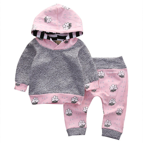 Girls Striped Cartoon Hooded Tops+Pants Outfit - UrBasicneeds