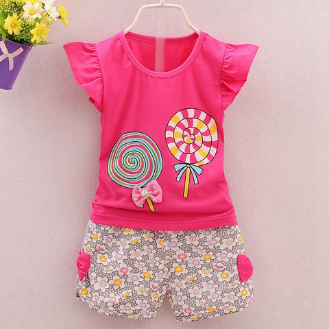 2PCS Girls Lolly T-shirt Tops+Short Pants Clothes Set - UrBasicneeds