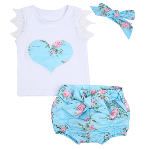 3pcs /set Newborn Baby Girls Flowers Vest Top + Shorts Bottom +Headbands - UrBasicneeds