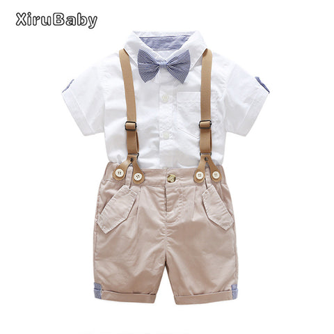 Boys Tie Short Sleeve Shirt Suspender Pants Outfit Set - UrBasicneeds