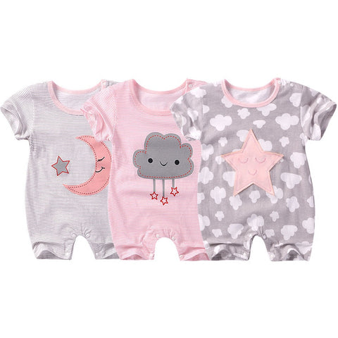 Star moon baby girl Cotton Short sleeve Rompers - UrBasicneeds