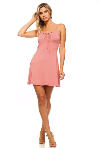 Women's Front and Back Tie Skater Tank Dress - UrBasicneeds