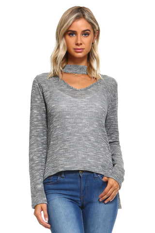 Women's Light Knit Sweater Top With Cut-Out Neck - UrBasicneeds