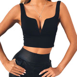 Sexy Women V-neck Solid Crop Tops - UrBasicneeds