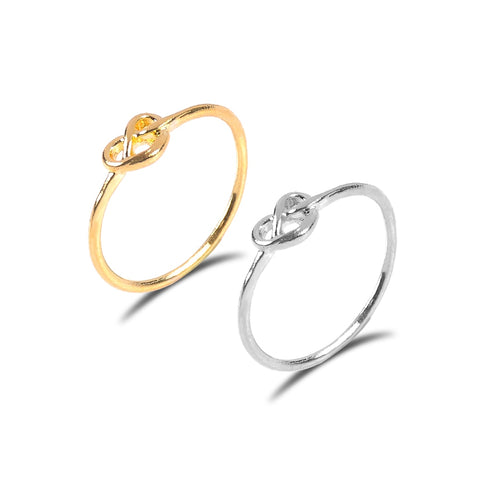 Gold silver color Knot heart ring