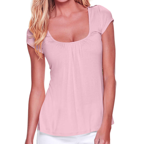 Casual Short Sleeve O-Neck Tops