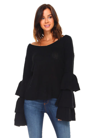 Women's Layered Bell Sleeve Sweater - UrBasicneeds